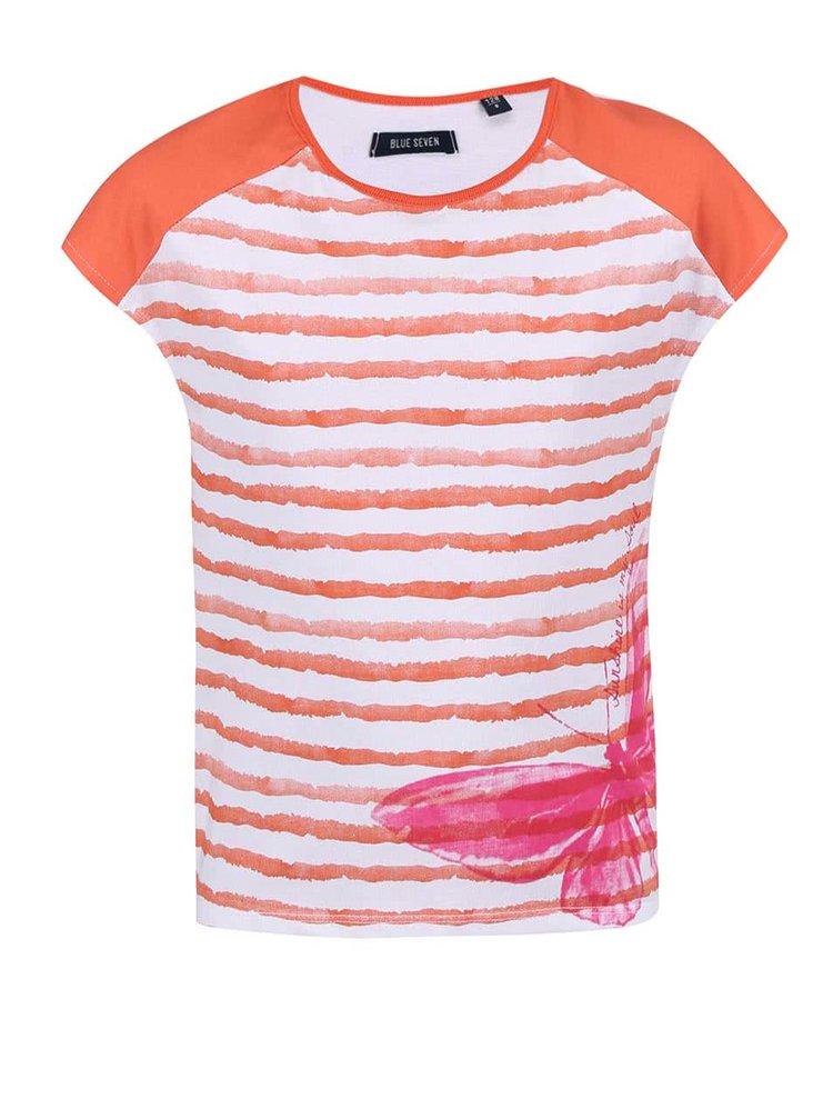 Tricou Blue Seven pentru fete alb cu dungi portocalii