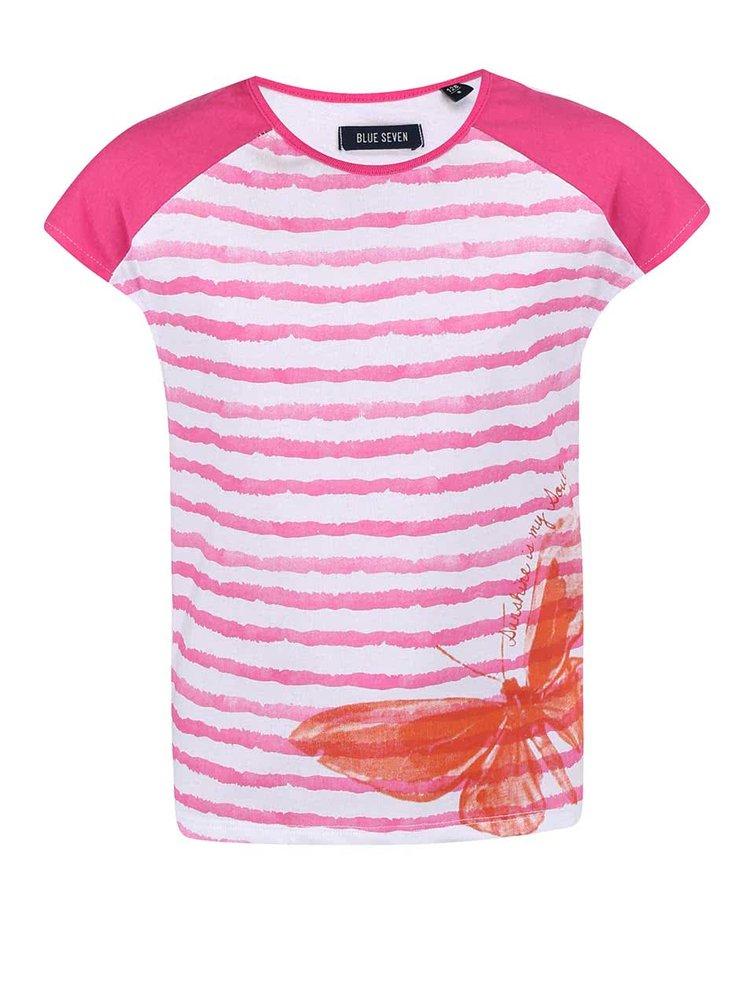 Bielo-ružové dievčenské pruhované tričko s motýľom Blue Seven