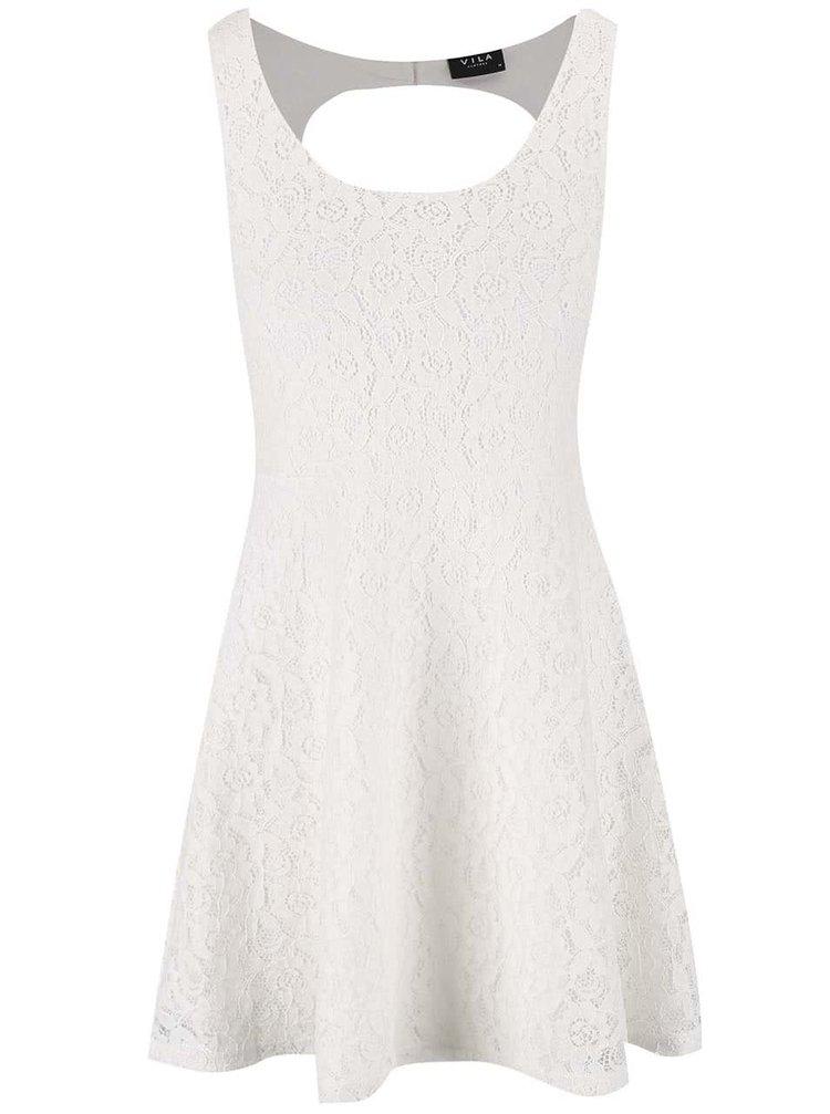 Krémové čipkované šaty VILA Flus