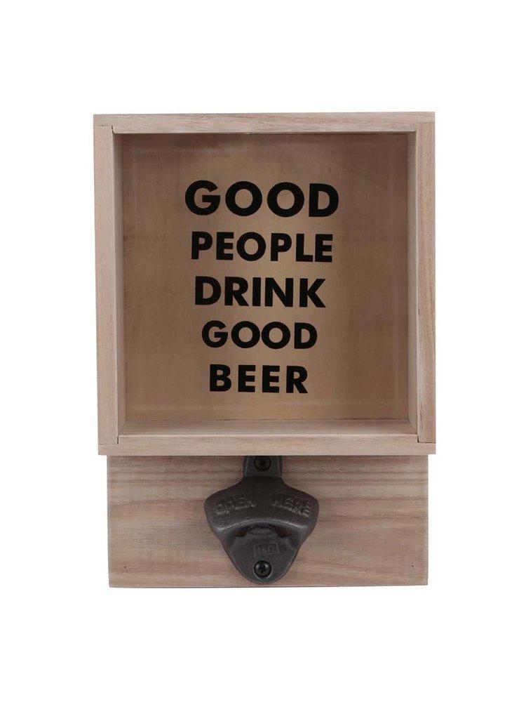 Dřevěný box na víčka s otvírákem lahví Helio Ferretti