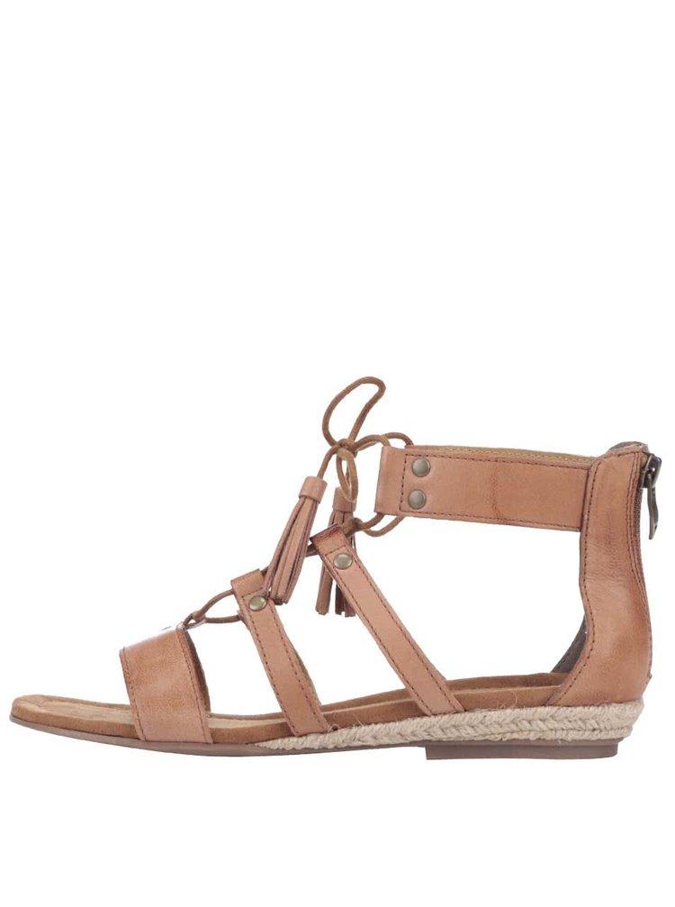 Hnědé kožené páskové sandály Tamaris