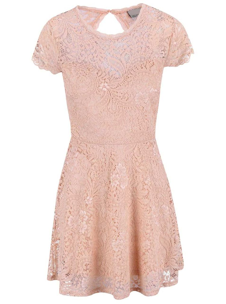 Svetloružové čipkované šaty VERO MODA Celeb
