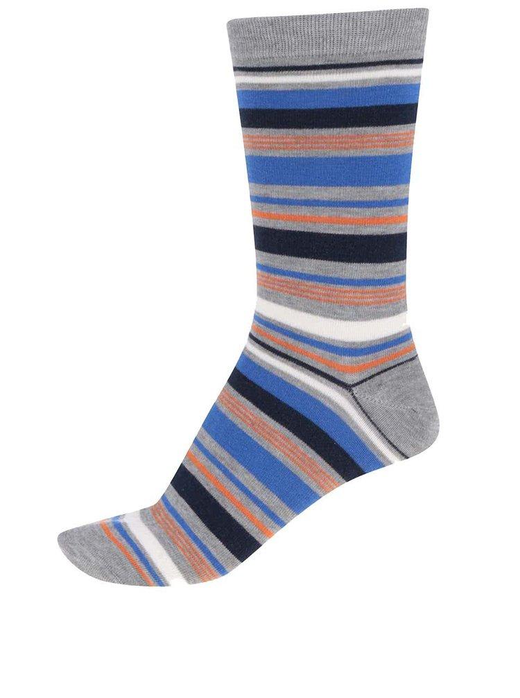 Modro-šedé pánské pruhované bambusové ponožky Braintree Elliot