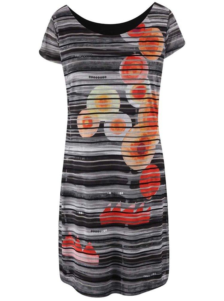 Bielo-čierne šaty s farebnými vzormi Desigual Ultra