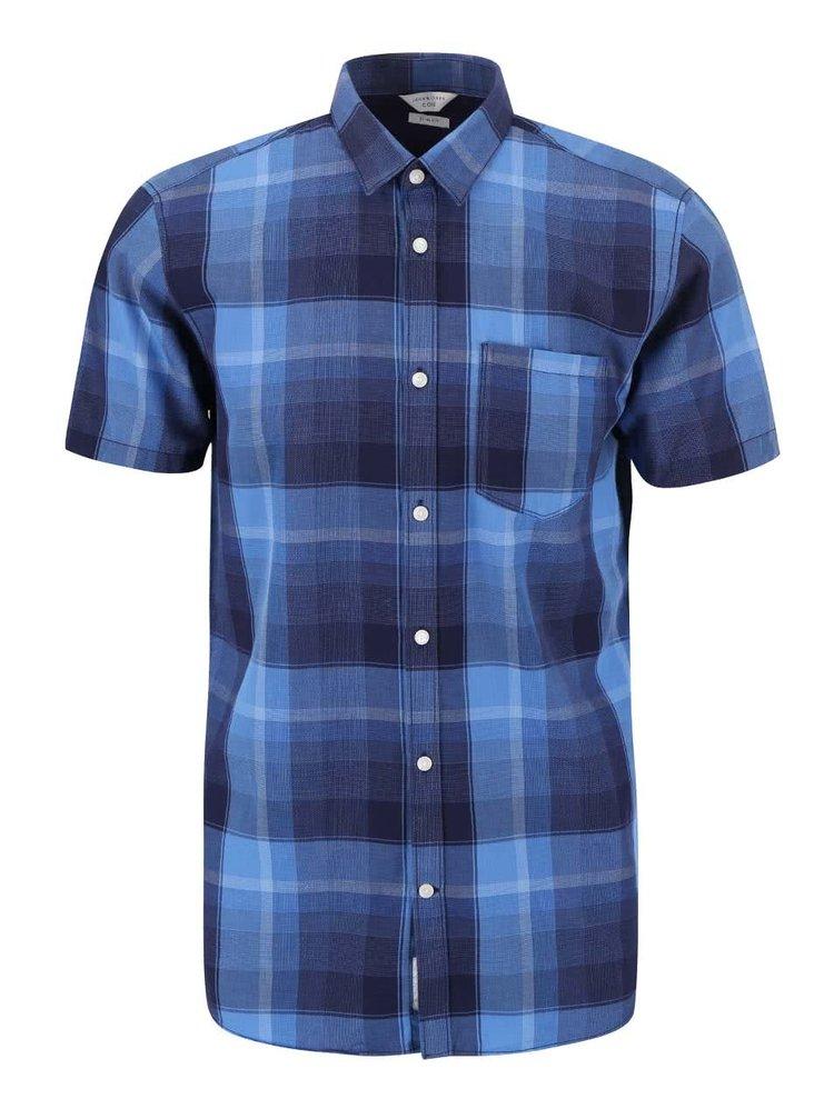 Modrá kockovaná slim fit košeľa Jack & Jones Ryan
