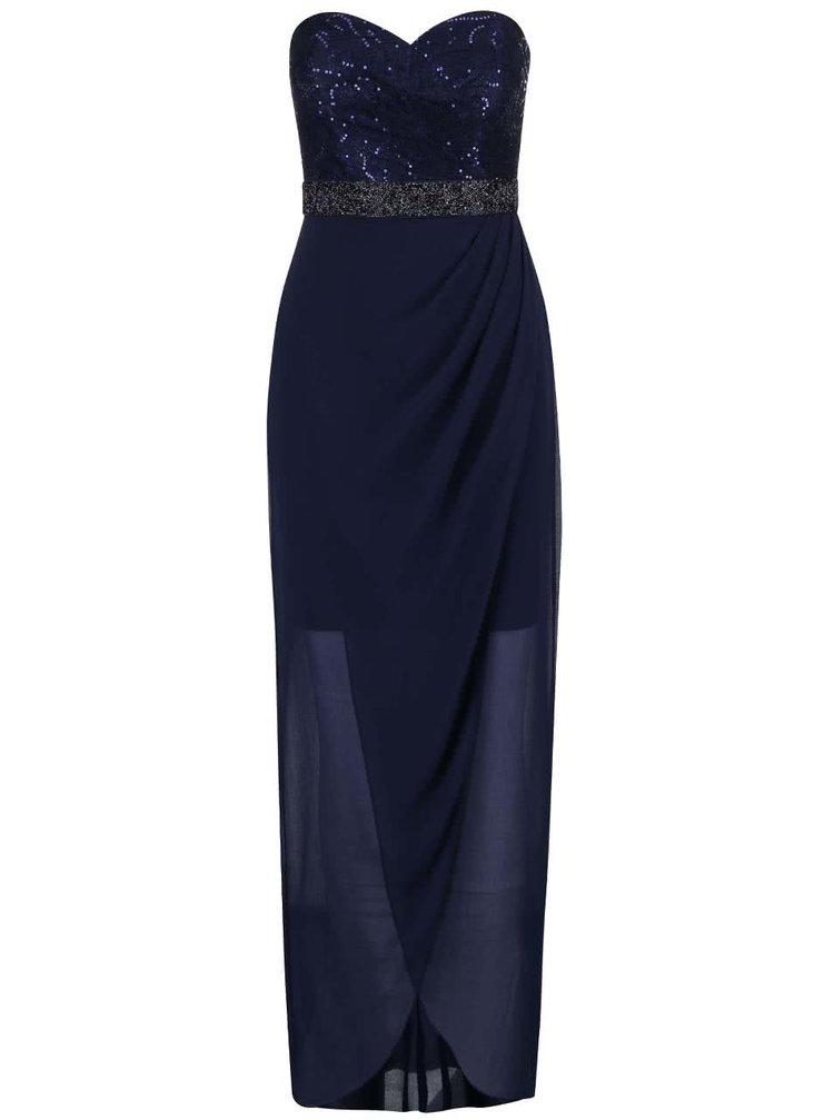 Tmavě modré šaty bez ramínek Lipsy