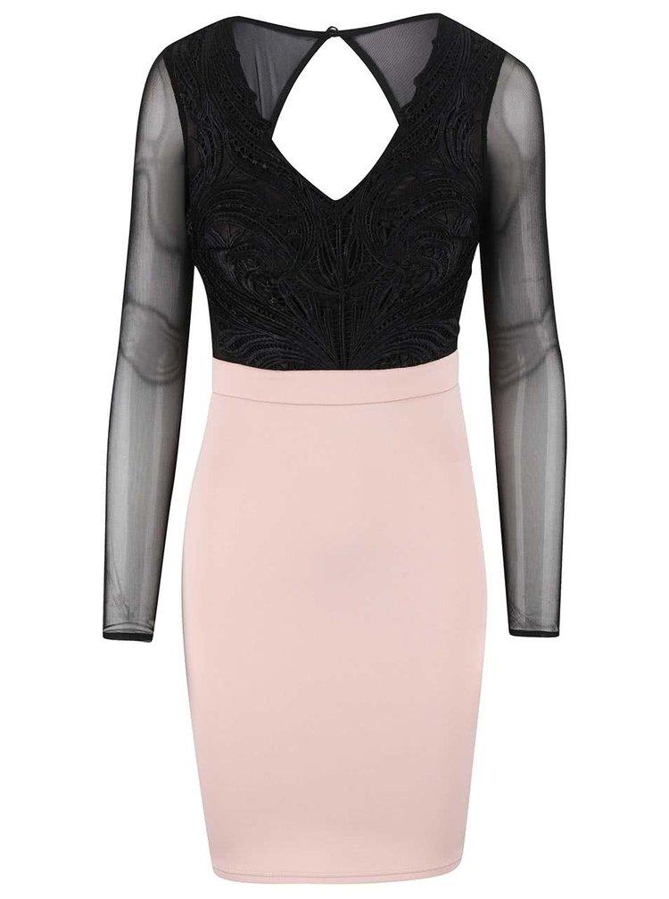 Čierno-krémové šaty s priesvitnými rukávmi Lipsy