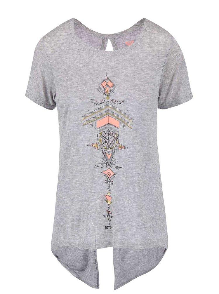 Sivé tričko s potlačou Roxy Sunset Tattoo