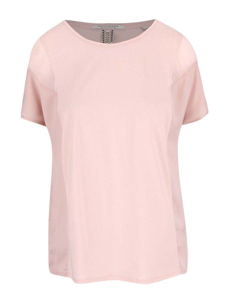 Světle růžové tričko s transparentními detaily Maison Scotch
