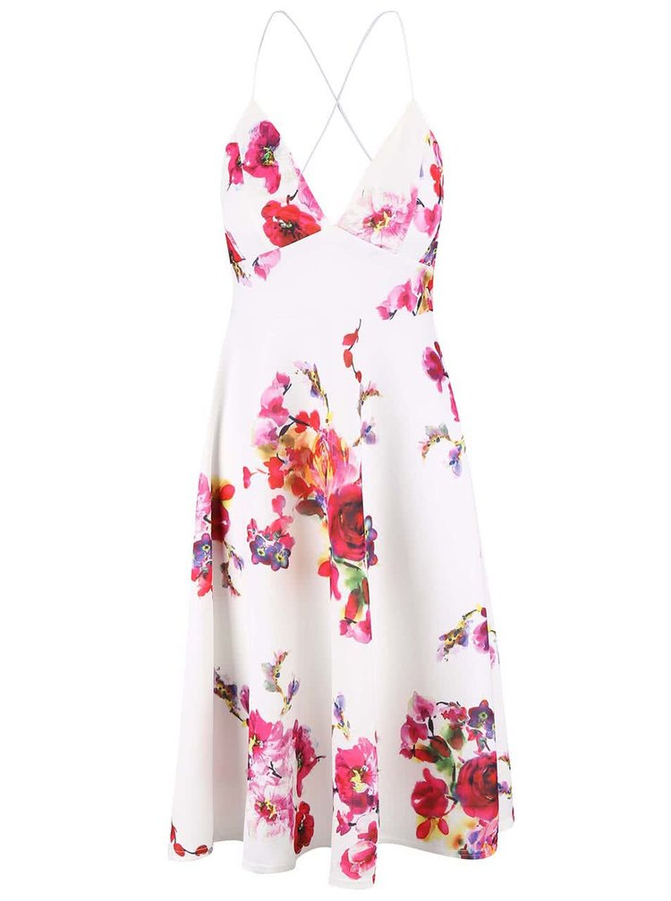 Bílé šaty s růžovými květy a úzkými ramínky AX Paris