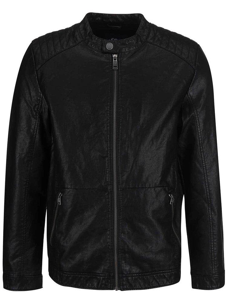 Jachetă s.Oliver neagră din piele sintetică