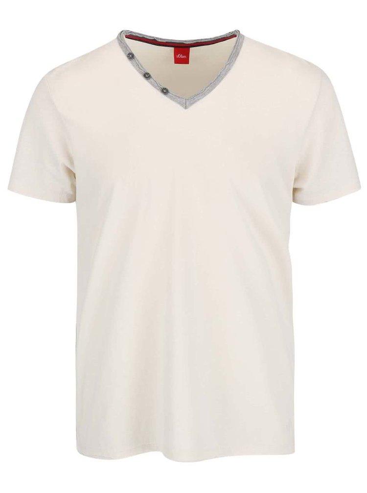 Krémové pánske tričko so sivým lemom s.Oliver
