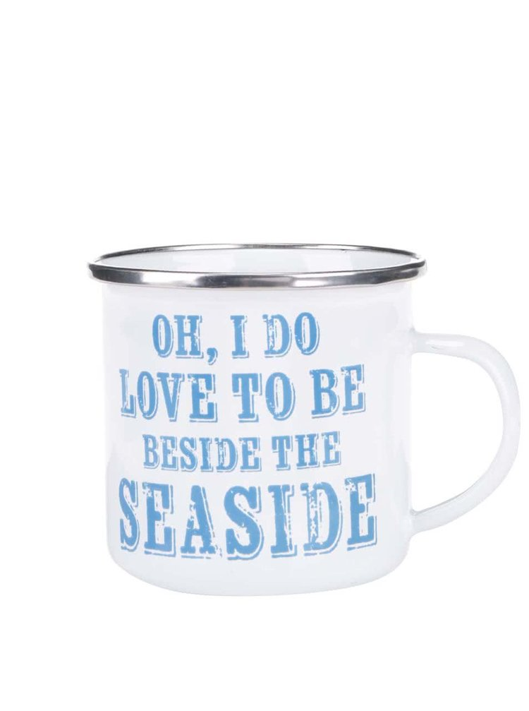 Biely plechový hrnček Sass & Belle Sandy Beside The Seaside