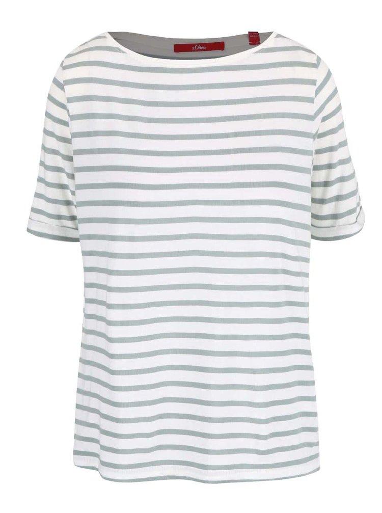 Bílo-zelené dámské pruhované tričko s 3/4 rukávem s.Oliver
