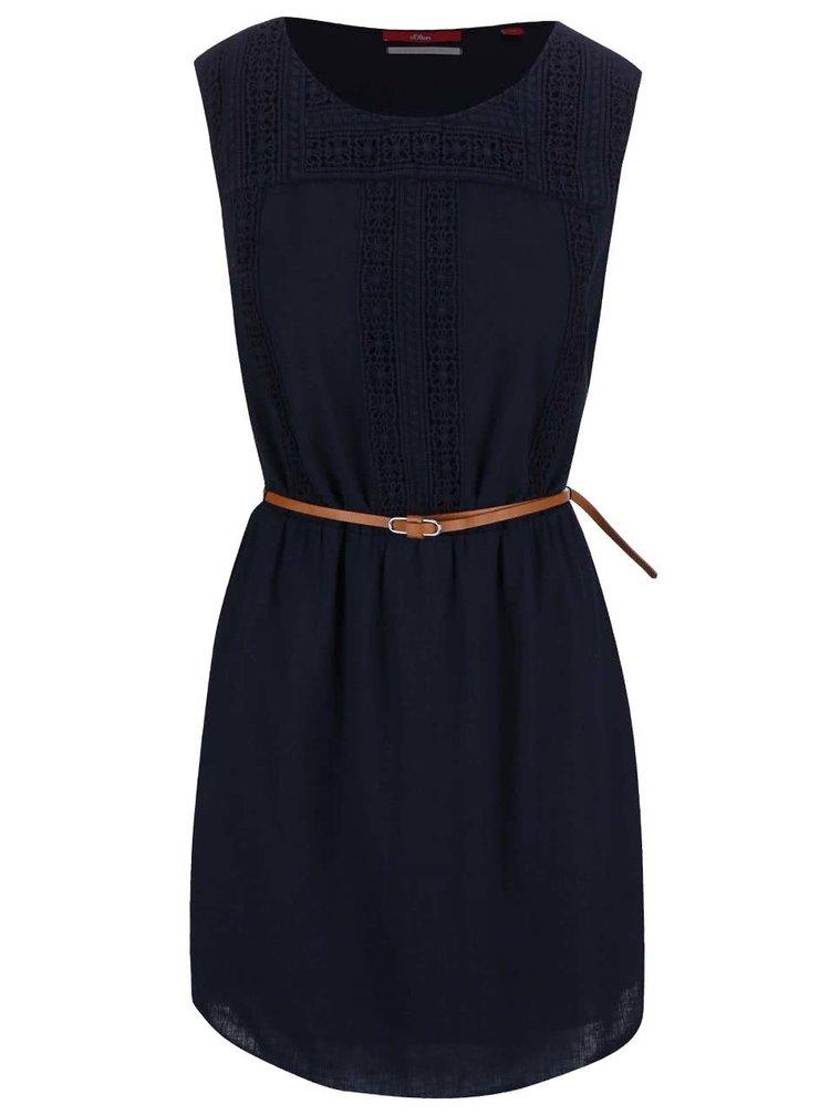 Tmavomodré šaty s čipkovanými detailmi s.Oliver