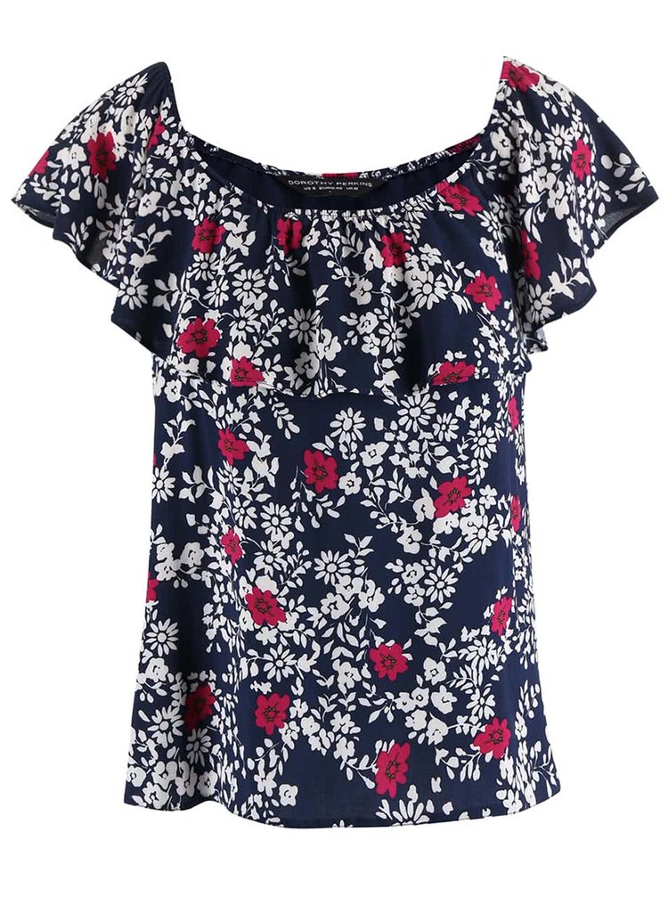 Tmavomodré kvetované tričko s volánikom Dorothy Perkins