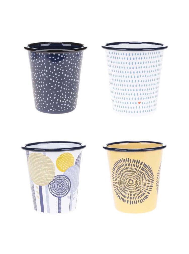 Súprava štyroch smaltovaných pohárov Folklore