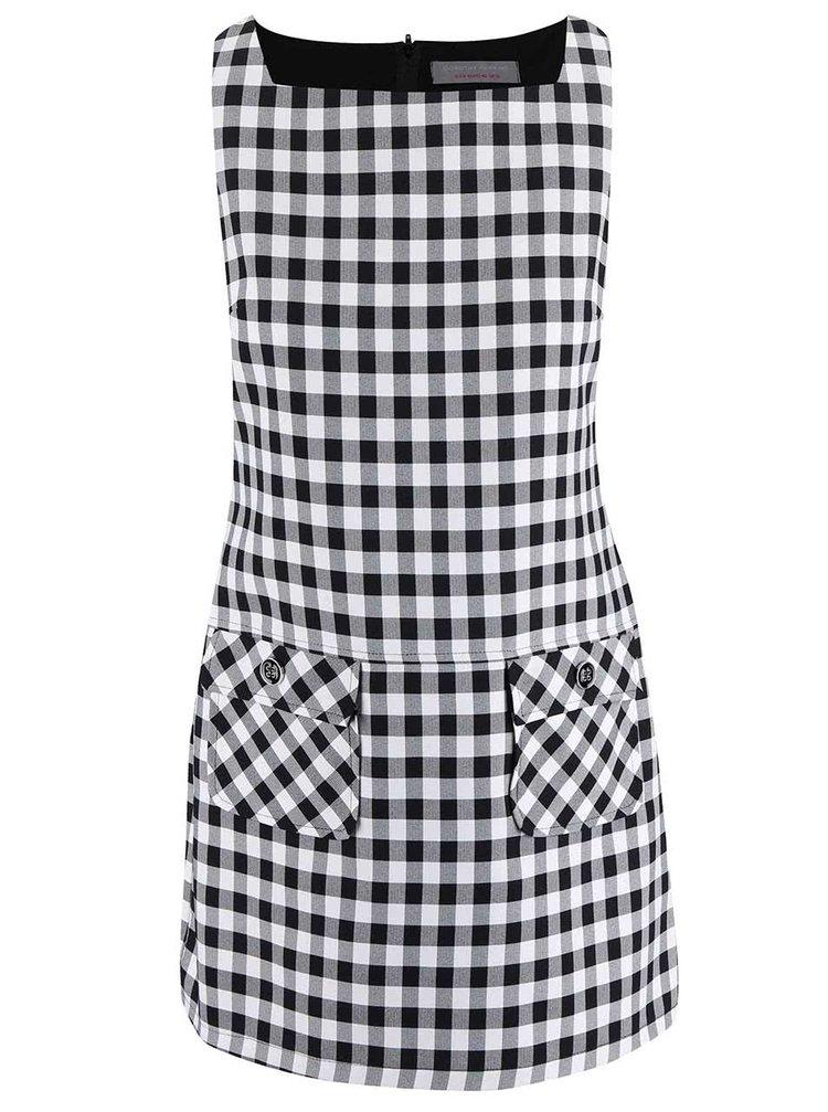 Bílo-černé kostkované šaty s kapsami Dorothy Perkins Petite