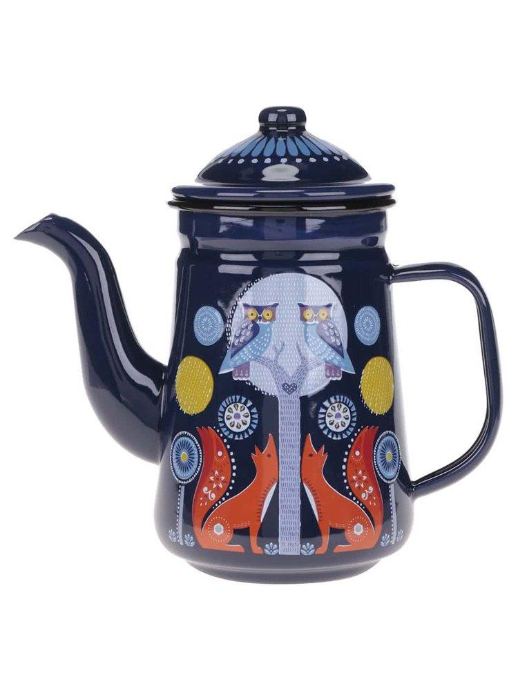 Ceainic Folklore  din tablă, albastru