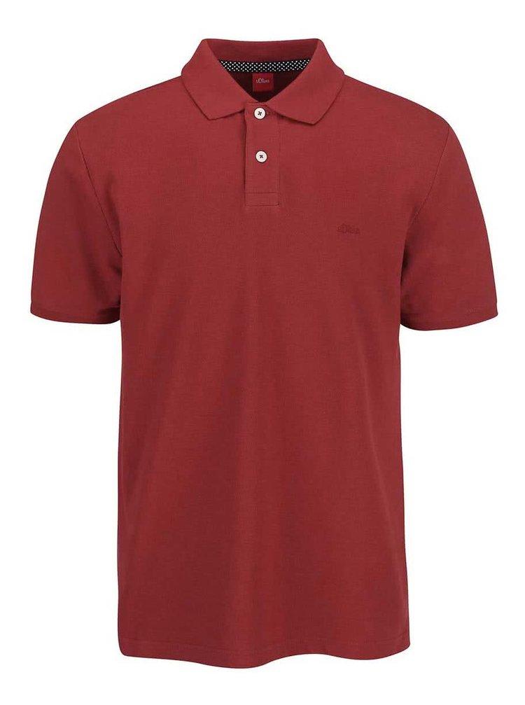 Vínové pánské polo triko s.Oliver