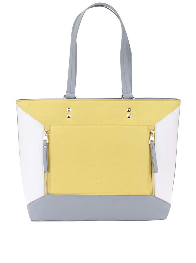 Bielo-žlto-sivá väčšia kabelka Anna Smith