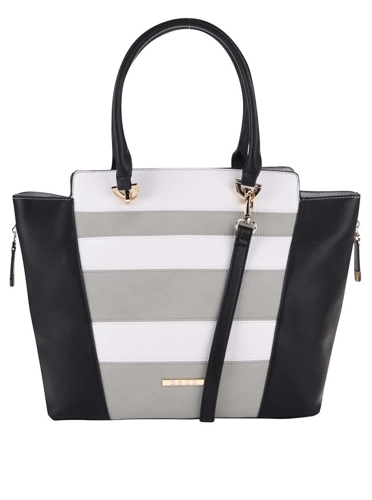 Černá kabelka s šedými a bílými pruhy DSUK