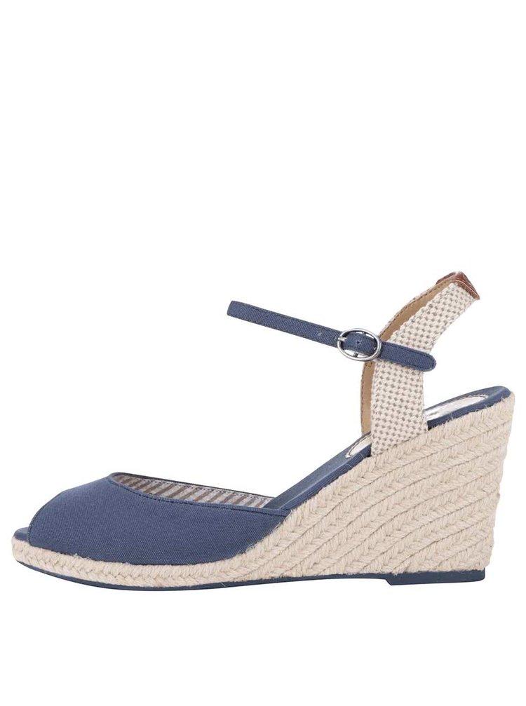 Tmavomodré dámske sandále na klinovom podpätku Pepe Jeans