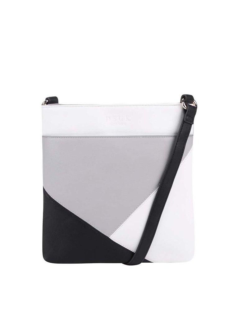 Čierno-bielo-sivá crossbody kabelka DSUK