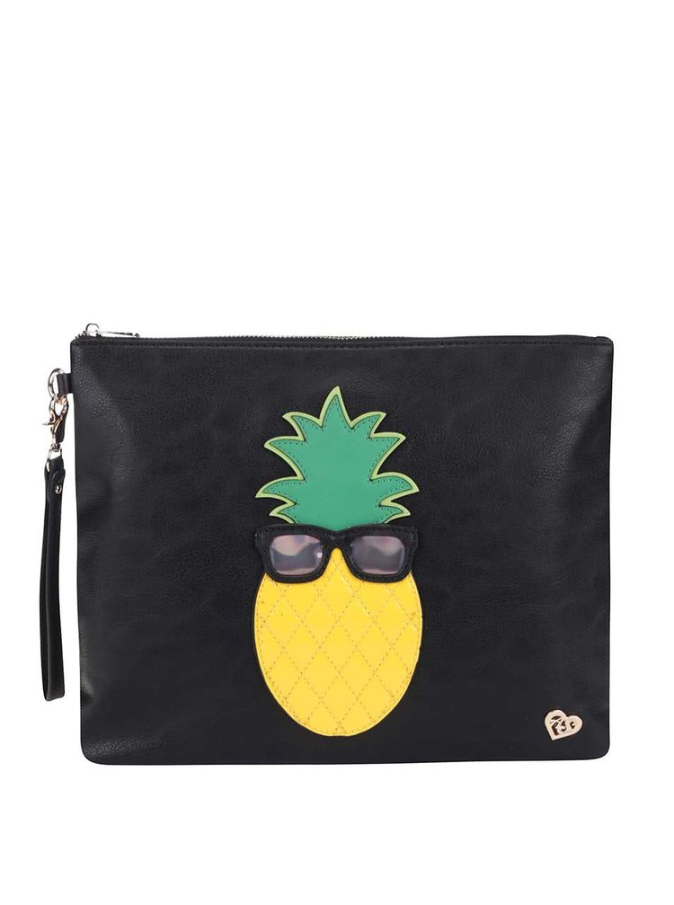 Čierna listová kabelka s ananásom Anna Smith