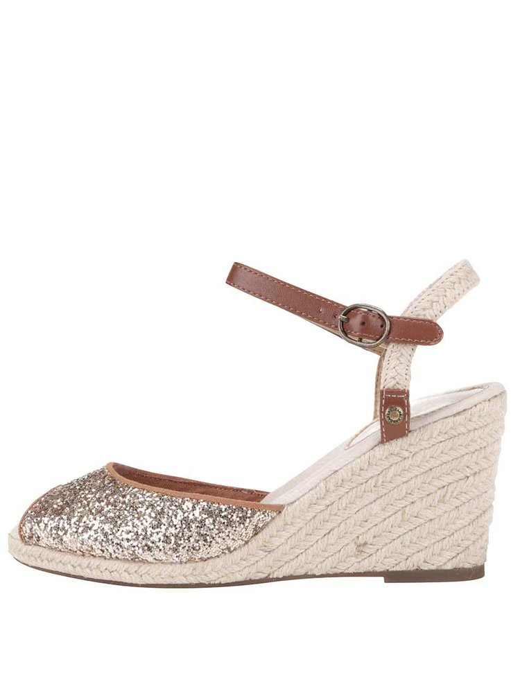 Dámske sandále na klinovom podpätku v zlatej farbe Pepe Jeans