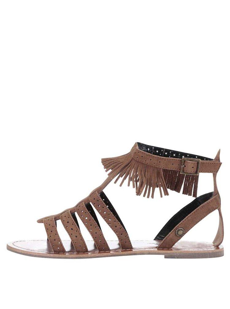 Hnedé dámske semišové sandále so strapcami Pepe Jeans