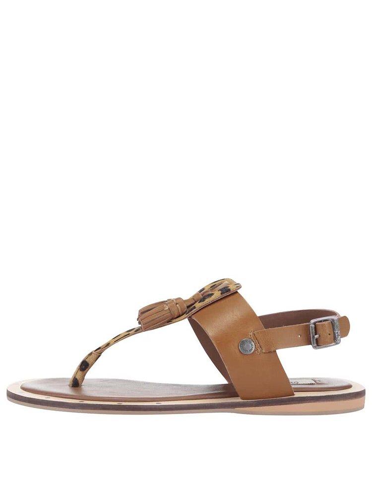 Sandale Pepe Jeans maro, cu print