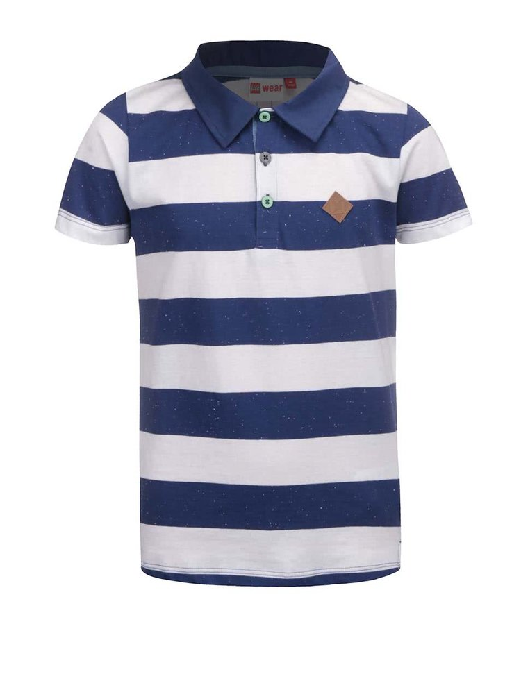 Bílo-modré klučičí polo tričko s pruhy LEGO wear