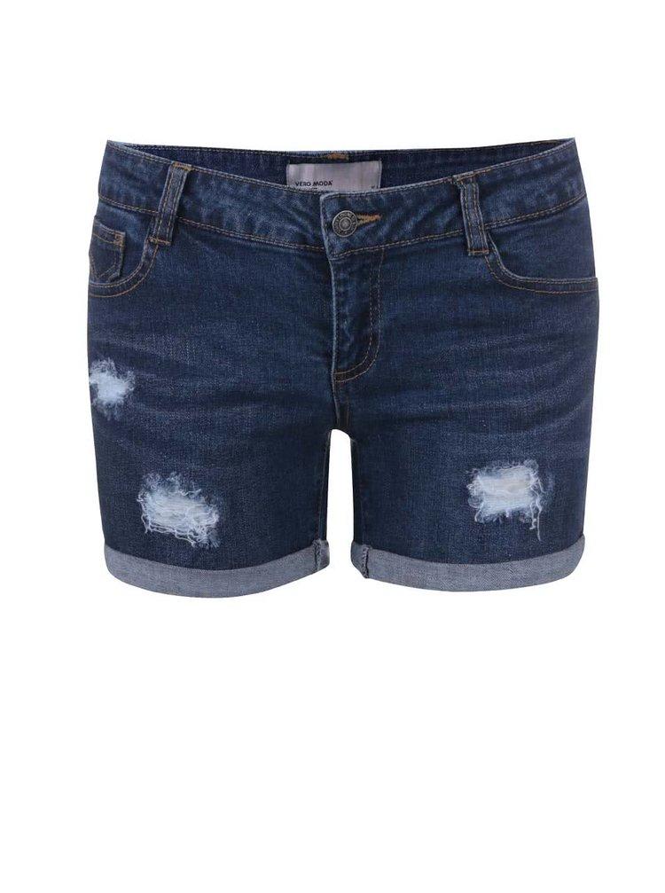 Modré džínové kraťasy s roztrhaným efektem VERO MODA Be Five