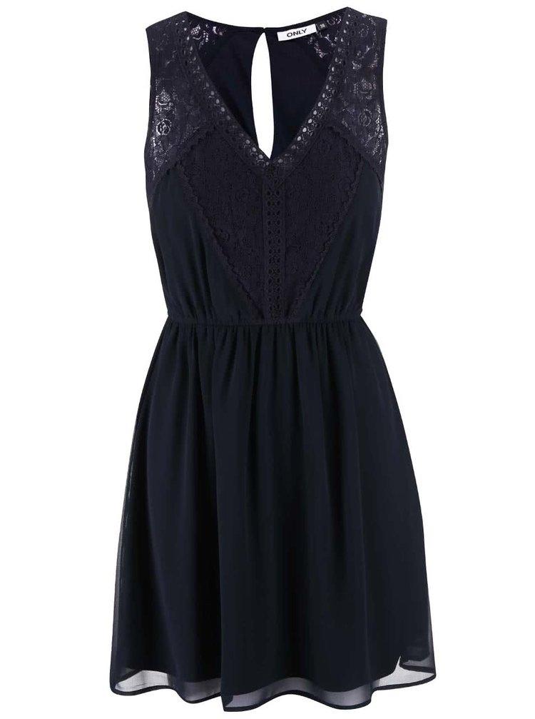 Tmavomodré šaty s čipkovanými detailmi ONLY Matilda