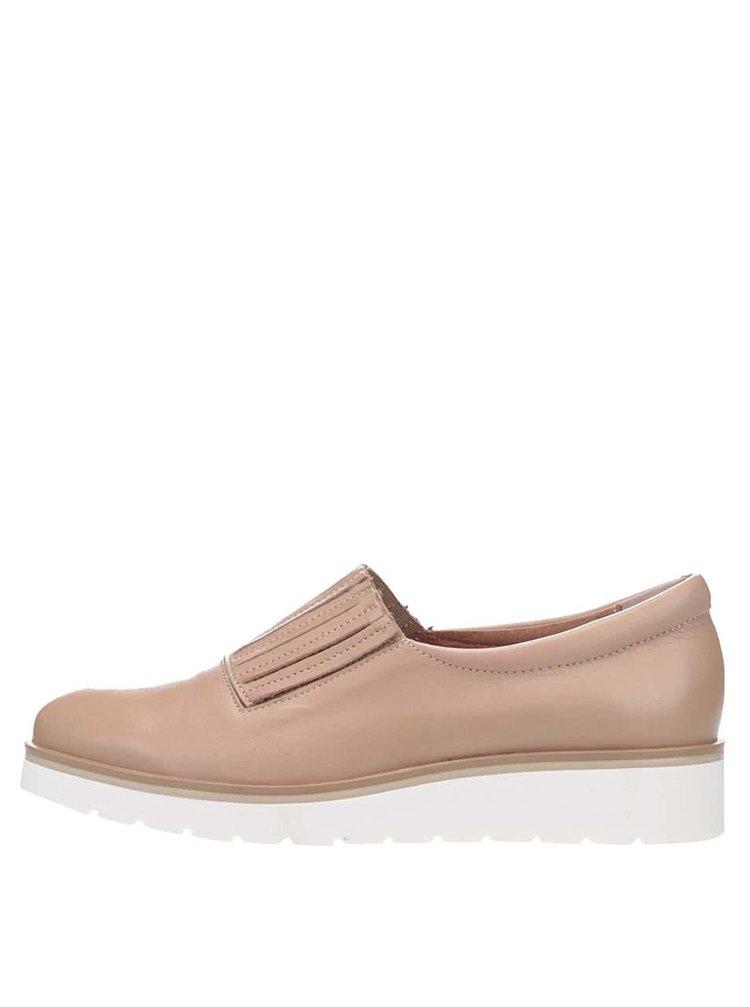 Béžové kožené loafers na bielej platforme OJJU