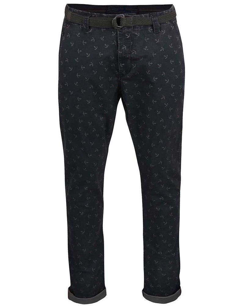 Pantaloni Dstrezzed navy/gri cu model