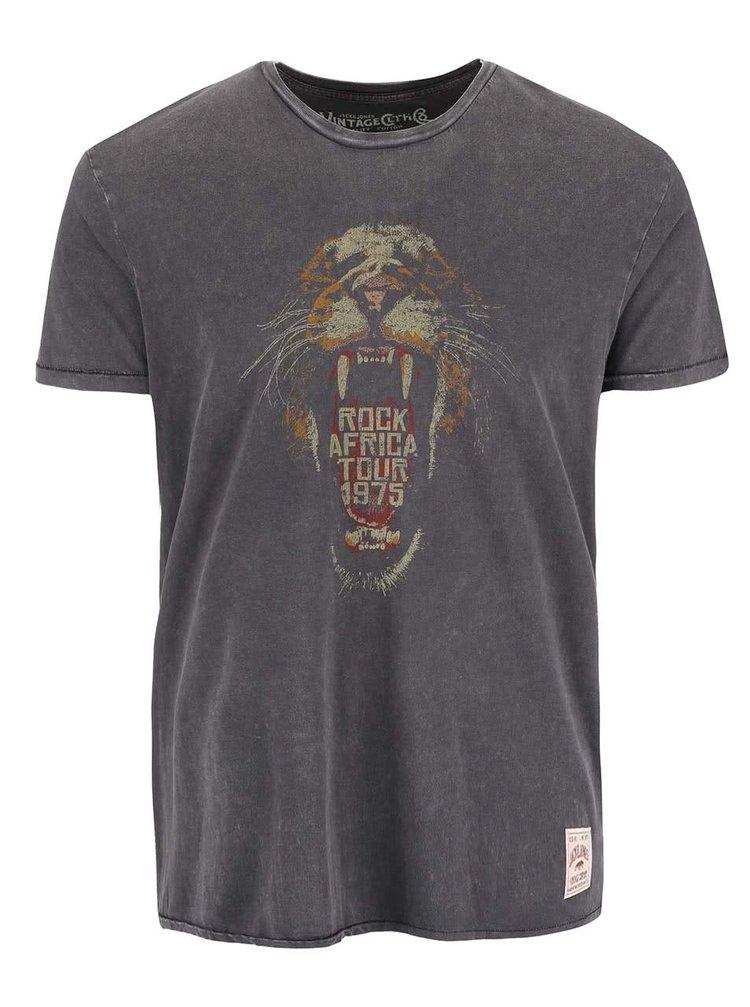 Tmavosivé tričko s potlačou Jack & Jones Iggy