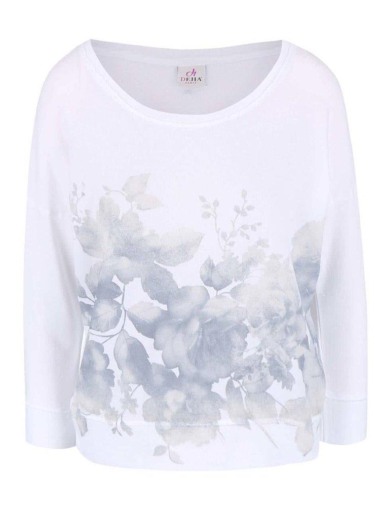 Bluză DEHA albă, cu imprimeu floral