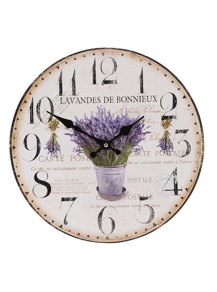 Béžové drevené hodiny s levanduľou Dakls