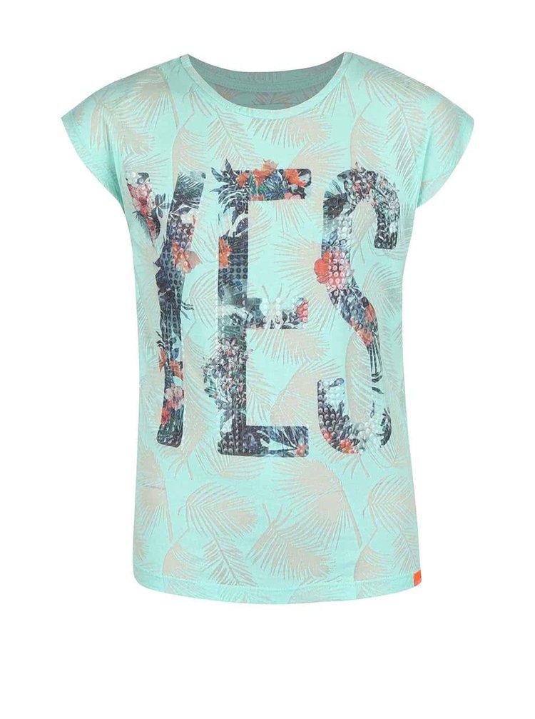 Mentolové holčičí tričko s flitry Cars Jeans Sunny