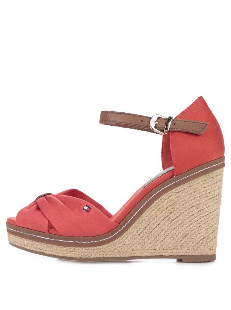 Červené dámske topánky na platforme Tommy Hilfiger
