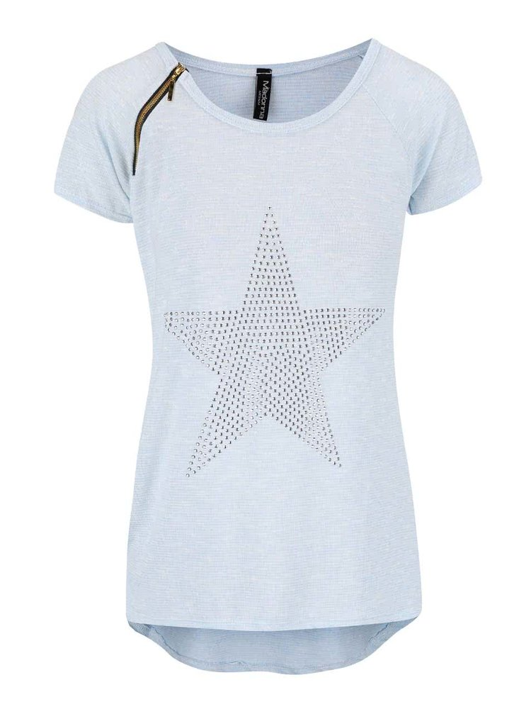 Světle modré žíhané tričko s hvězdou Madonna
