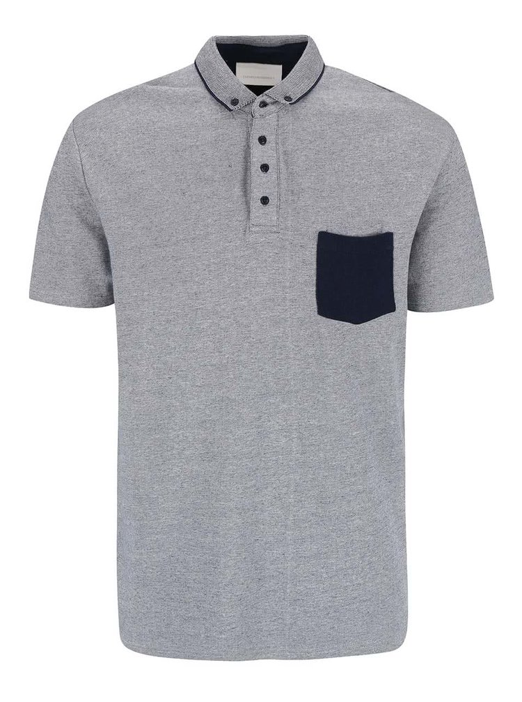 Modro-bíé polo triko s náprsní kapsou Tailored & Originals Oxford