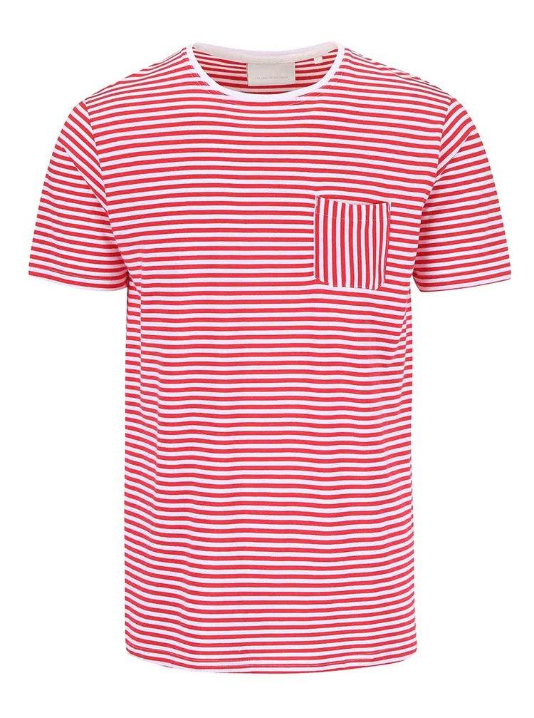 Tricou Tailored & Originals Rushden roșu/alb cu dungi