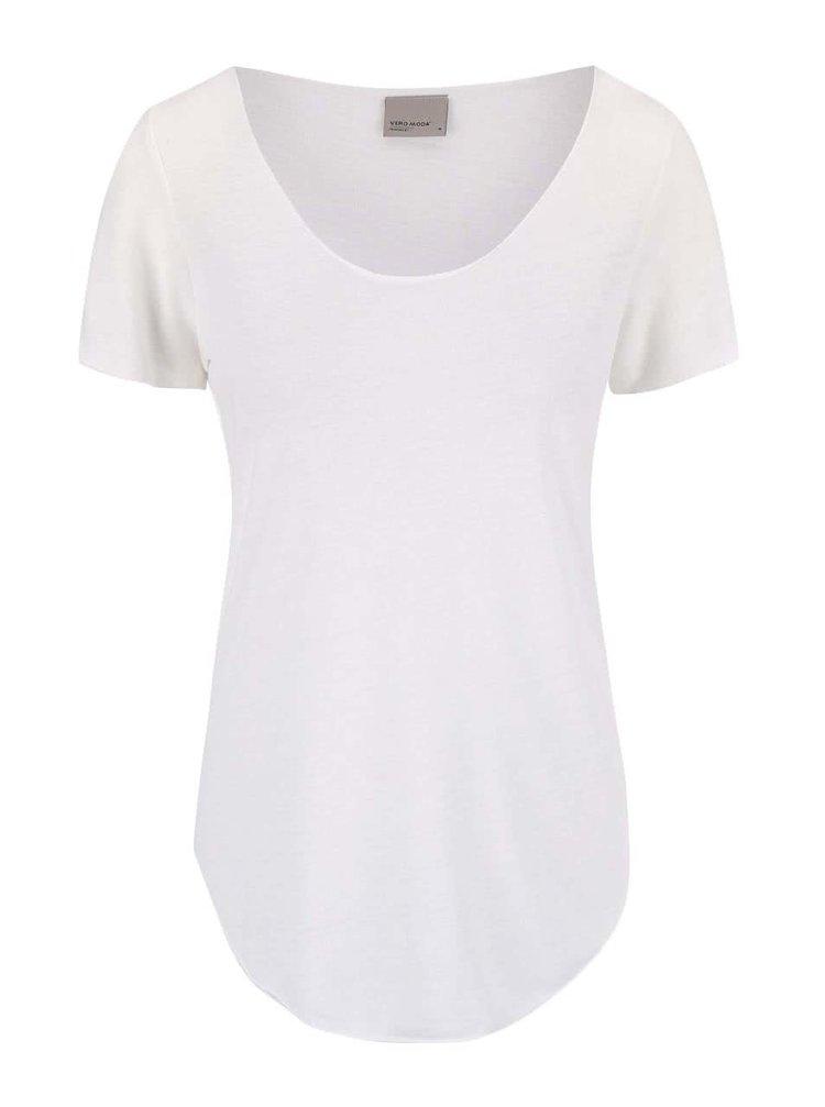 Krémové tričko s predĺženou dĺžkou VERO MODA Lua