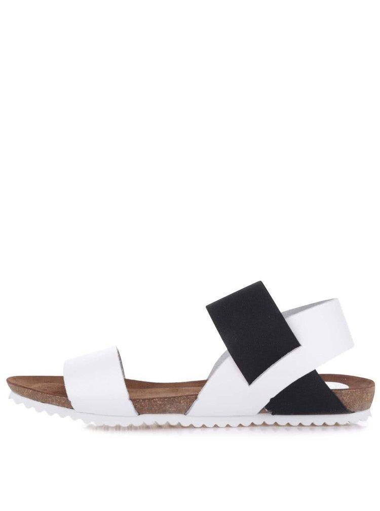 Černo-bílé kožené sandály OJJU
