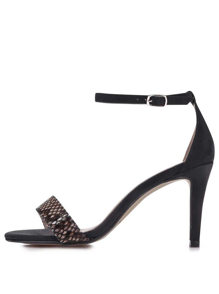 Béžovo-černé vzorované sandálky na podpatku OJJU