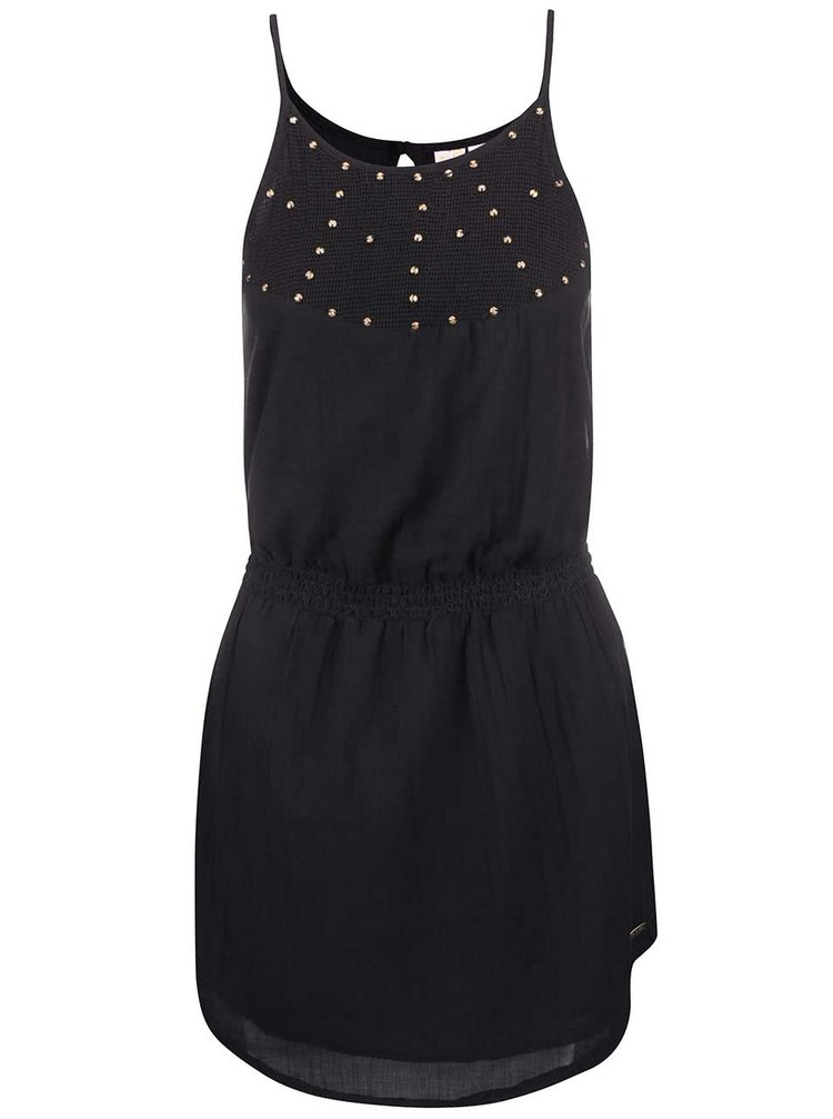 Černé šaty se zdobnou aplikací Rip Curl Lela