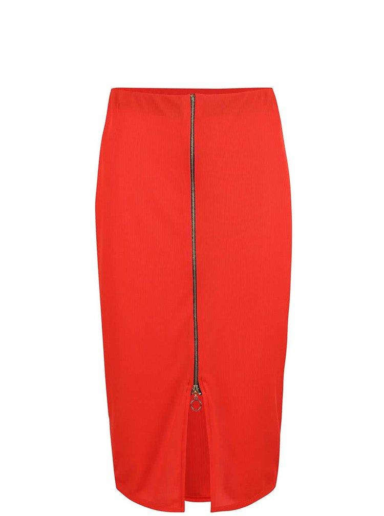 Červená midi sukně se zipem Dorothy Perkins